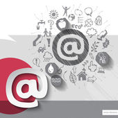 Paper and hand drawn mail emblem with icons background — Wektor stockowy