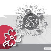 Paper and hand drawn flower emblem with icons background — Stock Vector