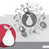 Paper and hand drawn pear emblem with icons background — Stock Vector