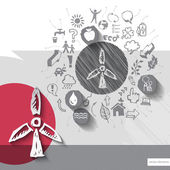 Paper and hand drawn windmill emblem with icons background — Stock Vector