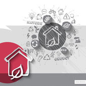 Paper and hand drawn home emblem with icons background — Stockvector