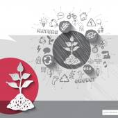 Paper and hand drawn herb emblem with icons background — Cтоковый вектор