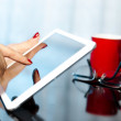 Using digital tablet and smartphone — Stock Photo #57022571