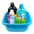 Basin and a bottle of shampoo and soap — Stock Photo #51961931