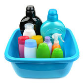 Basin and a bottle of shampoo and soap — Stock Photo