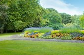 Summer park with beautiful flowerbeds — Stock Photo