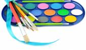 Watercolor paints and brushes isolated on white background — Stock Photo
