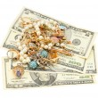 Gold ornaments and dollars — Stock Photo #65866765