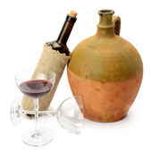 Glass of wine, bottle and amphora — Stock Photo