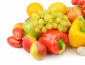 Fruit and vegetable isolated on white background — Stock Photo