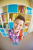 Handsome schoolboy with schoolbag — Stock Photo