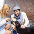 Happy young couple feeding dog — Stock Photo #53815719