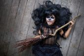 Girl with broom — Stock Photo