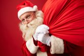 Santa Claus with huge sack — Stok fotoğraf