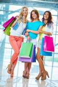 Girls with paperbags — Stock Photo