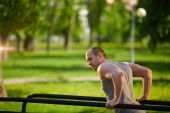Man training on sport facilities — Stock Photo