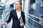 Businesswoman with touchpad — Stock Photo