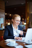 Businesswoman networking in cafe — Foto de Stock