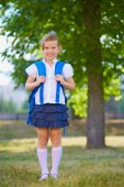 Schoolchild with rucksack — Stock Photo