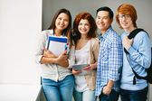 Teenage friends  in college — Foto Stock