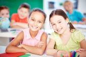 Girls at lesson — Stock Photo