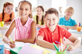 Elementary school learners at lesson — Foto Stock