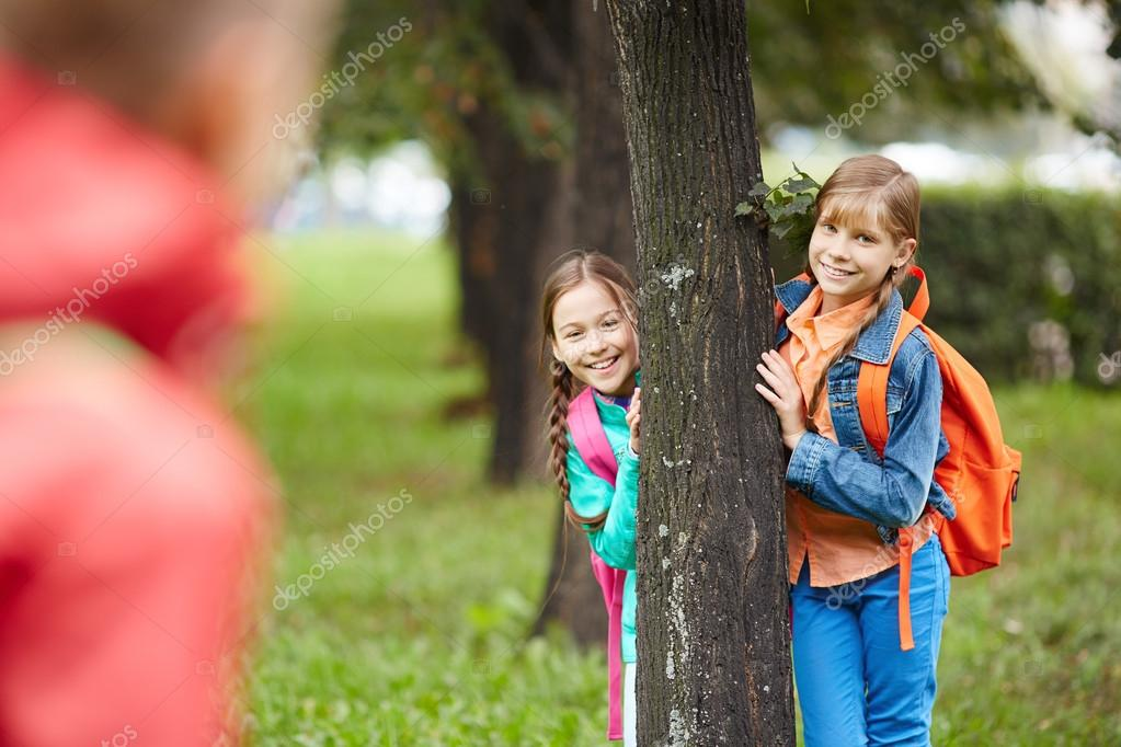Schoolgirls in park - Stock Image