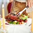 Roasted poultry on festive table — Stock Photo #55473435