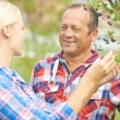 Gardeners talking by aronia tree — Stock Photo #55478111