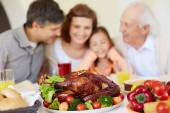 Thanksgiving roasted turkey and family — Stock Photo