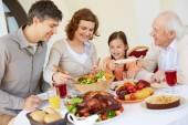 Family having Thanksgiving dinner — Stock Photo