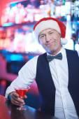 Santa in bar — Stock Photo