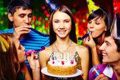 Girl with birthday cake — Stock Photo