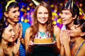 Young female with birthday cake — Foto Stock