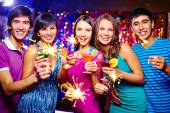Friends toasting at New Year party — Foto de Stock
