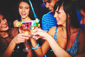 Friends with champagne — Stock Photo