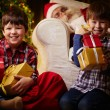 Happy boys with gift boxes — Stock Photo #55486165