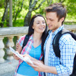 Affectionate couple studying map — Stock Photo #55488255