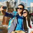 Traveling young couple taking selfy — Stockfoto #55488721