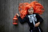 Red-haired Halloween girl — Stock Photo