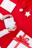 Gift boxes, Santa cap and decorative toy star — Foto Stock