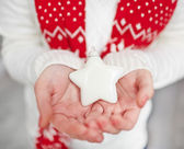 Decorative star on female hands — Stock Photo