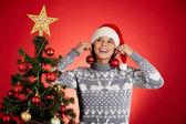 Girl in Santa cap — Stock Photo