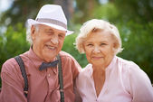 Senior couple in smart casual — Stock Photo
