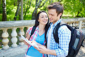 Affectionate couple studying map — Stock Photo