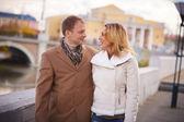 Couple taking a walk in autumn — Stock Photo