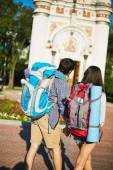 Travelers with backpacks — Stock Photo