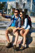 Man and woman taking selfy — Stock Photo