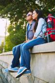 Romantic travelers with rucksacks — Stock Photo