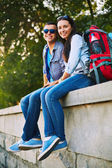 Travelers with rucksacks — Stock Photo